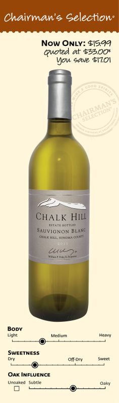 """Chalk Hill Sauvignon Blanc 2011: """"""""Lemon meringue and marmalade notes are concentrated, succulent and juicy, with plenty of pear, nectarine and melon flavors. Reveals spicy, floral details on the finish. Drink now."""" *89 Points Wine Spectator, December 15, 2013. $15.99"""