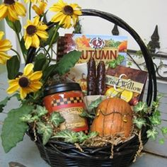 Fall Gift Basket: Cook Books, Gourmet Foods, Florals, Decorative Items, Paper Products, Candles & Candle Accessories.