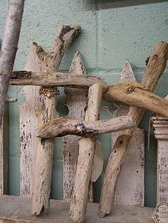 driftwood crosses.