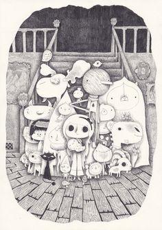 bienvenue à friville  / an art print by Yohan Sacre / via society6 #illustration #cute