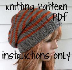 Instant Download Knitting Pattern, Knit Hat Pattern, Easy Slouchy Beanie Beret, Unisex, winter, ski, teen