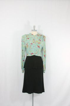 1940's Dress  Rayon and Crepe Novelty Print - Hunting Scene by VintageFrocksOfFancy