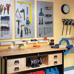 Organize Your Garage with Metal Pegboard.  We love the idea of creating zones with this system!