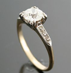 1940s Engagement Ring  Vintage Gold and Diamond by SITFineJewelry, $12300.00