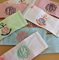 Monogrammed Koozie by LittleCharmsDesigns on Etsy I need to learn to make these!