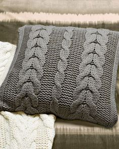 Oversized Cabled Knit Pillow