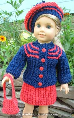 ABC Knitting Patterns - American Girl Doll Vintage Outfit (Cardigan and Skirt) sport yarn