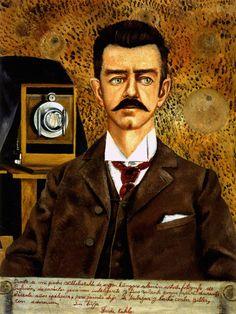 1951 Frida Kahlo Portrait de mon père, Portrait of my father, Huile sur masonite, 60,5x46,5 cm. #Art #Mexico #deFharo