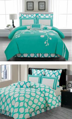 teal and white bedding