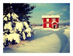 sweden, houses, heart, red, colors, snow, white, farmhouse, paints