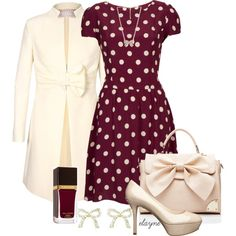 Holiday outfit with polka dot dress