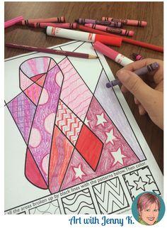 Breast cancer awareness ribbon interactive coloring sheet FREEBIE.
