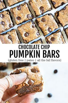 Full of pumpkin and loaded with all the warm and cozy spices, these super simple chocolate chip pumpkin bars are everything I love about fall. Moist, delicious, and ooey gooey. #pumpkinrecipes #glutenfreerecipes #fallrecipes #pumpkin #chocolate #savorylotus