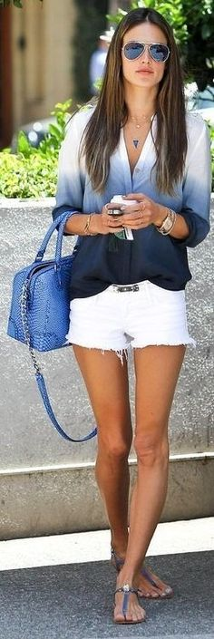 ombre blouse, white shorts, blue handbag  (6/7/2013) Women's Fashion: My Style  (CTS)