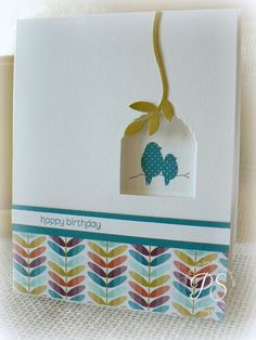 Using a Hearts a Flutter Die... for  a bird cage  stampsnsmiles.blogspot.com