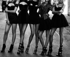 Little black dress bachelorette party- sooooo doing this! Except I would still have the bride in white