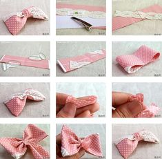 How to make your own lovely pink fabric hair bow step by step DIY instructions