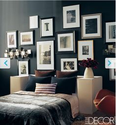 Cool collage frame alternative to the traditional headboard