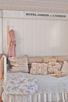 vintage fabrics on day bed