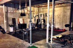 """Tight-Lock Rubber Tiles in a basement gym  is an excellent home gym idea  I  """"The price was reasonable and I was able to put it down in my basement in only a few minutes."""" - John from Lake St Louis"""
