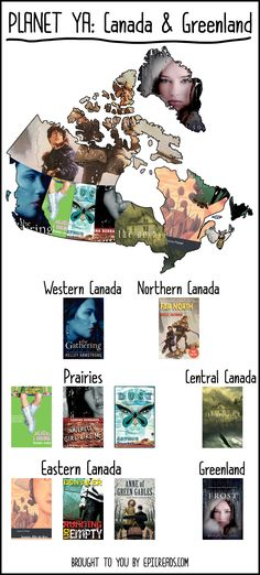 Read your way across the YA book world with this map of Canada and Greenland made by Epic Reads!