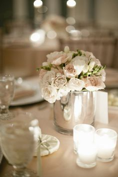 Love the silver vase and blush tones