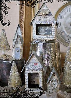 cute birdhous, little houses, glitter houses, christmas villages, vintage houses, sheet music, picture frames, paper houses, christmas houses
