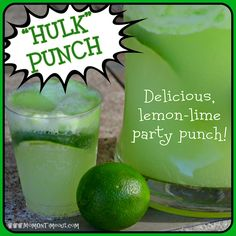 """Mom On Timeout: Lemon-Lime """"HULK"""" Party Punch {Recipe} To have at an avengers or super hero birthday party"""