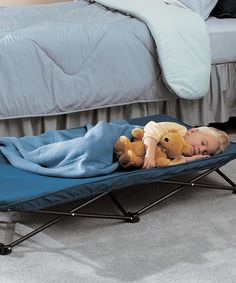 My Cot Portable Toddler Bed by Regalo .....Pinner said: bought this for my nephew for when travelling and it was fantastic....now bought one for us for our trips too.  Great to use at the beach to sit up off sand while eating, great to set up at soccer games along sidelines etc, and can't beat the $25 price!  GREAT PRODUCT!  (on Amazon too)