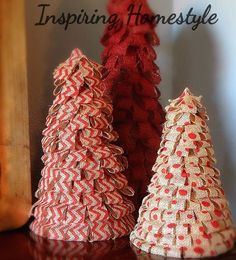 Make Burlap Christmas Trees.  Beautiful and simple!