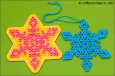 Google Image Result for http://www.coffeeandvanilla.com/wordpress/wp-content/uploads/2010/11/bead-christmas-decorations-2-400.jpg hama christma, craft, christmas decorations, snow flake, perler beads, christmas perler bead patterns, hama bead patterns, christma hama, snowflak
