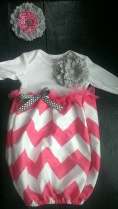 Pink chevron baby gown with grey and pink headband. So cute!