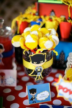 Themed candy at a Superhero party!    See more party ideas at CatchMyParty.com!  #partyideas #superhero