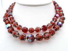 Ruby Red Crystal Bi Color Glass Large Bead Multi Strand Estate Necklace Vintage | eBay