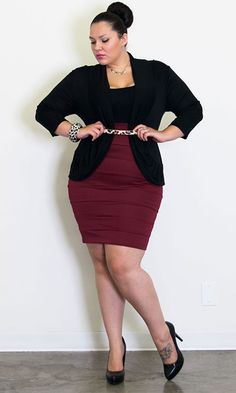 Ultra fitted, bandage style plus size skirt for super sexy day-to-night style. Pair Bianca with a top and your favorite sandals. In the Fall, throw on your favorite tights and tall boots! This is one ultra-feminine body conscious style not to miss.