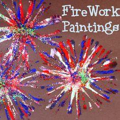 Pipe Cleaner Firework Painting   AllFreeKidsCrafts.com