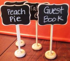 dessert tables, food tables, chalkboard signs, dessert buffet, chalkboard paint, rustic weddings, food labels, food bars, parti