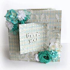 International Flair designer, Trina McClune, thank you card, handmade flowers, birds on a wire, swing card