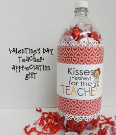 It's Written on the Wall: 8 Valentine's Day Themed Teacher Appreciation Labels (Soda bottle) and 3 Gift tags #TeacherAppreciation #Chocolate #HersheyKisses