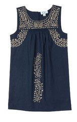 Gnome Dress is Navy with Gold Embroidery – Little Circus