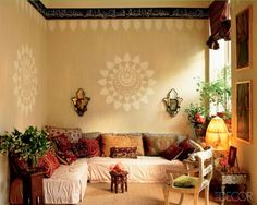 interior, living rooms, elle decor, moroccan style, live room, seating areas, stencils, bohemian, wall design