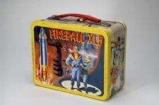 """Fireball XL5"" Lunch Box: ""Fireball XL5"" was filmed used Supermarionation, a combination of animation and puppetry that was made famous by the show's creators, Gerry and Sylvia Anderson. ""Fireball XL5"" was another television show that took advantage of the public's fascination with space, as does this lunch box, with its various images of rockets and space"
