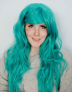 SPRING SALE Teal wig Green wig Scene wig Hipster by MissVioletLace, $62.40