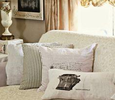 Make Shabby Flour Sack Pillows