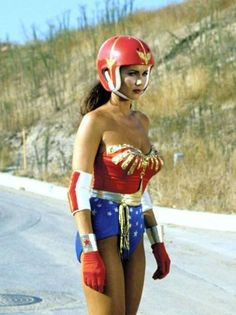 Wonder Woman with a mega sweet nerdy helmet rock on Linda Carter Rock on