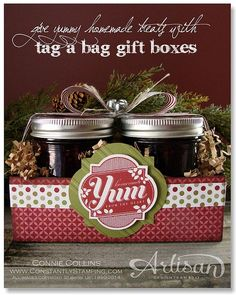 Tag a Bag Gift Box with Blackberry Jam by Connie Collins at www.ConstantlyStamping.com