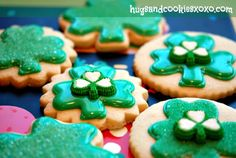 St. Patrick's Day Shamrock Cookies - Hugs and Cookies XOXO