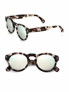 { Leonard Round Acetate Mirrored Sunglasses }