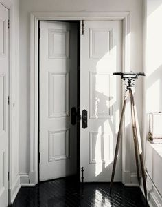 Love the dark hardwood floors against these beautiful white doors