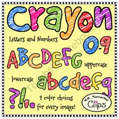 Crayon Letters and Numbers - Clip Art from KB Konnected Clips on TeachersNotebook.com -  (132 pages)  - Crayon Letters and Numbers - Clip Art